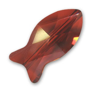 Fish Bead Crystal Red Magma