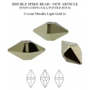 Double Spike Bead Swarovski Crystal Metallic Gold 2x