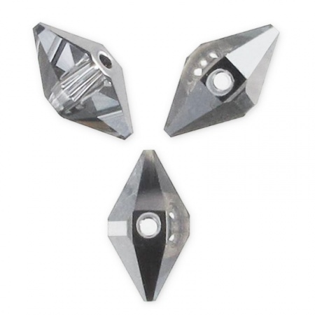 Double Spike Bead SwarovskiCrystal Silver Night 2x  Hover