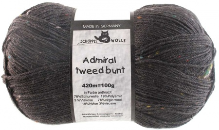 Schoppel Wolle Admiral colore 880m Tweed Bunt Antracite