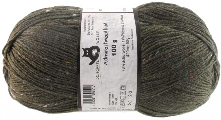 Schoppel Wolle Admiral colore 6271 Tweed Bunt Verde Oliva